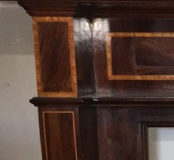 Victorian mahogany wood fire surrounds with satinwood inlay