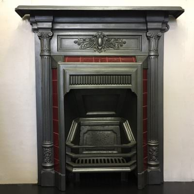 Original cast iron tiled bedroom fire