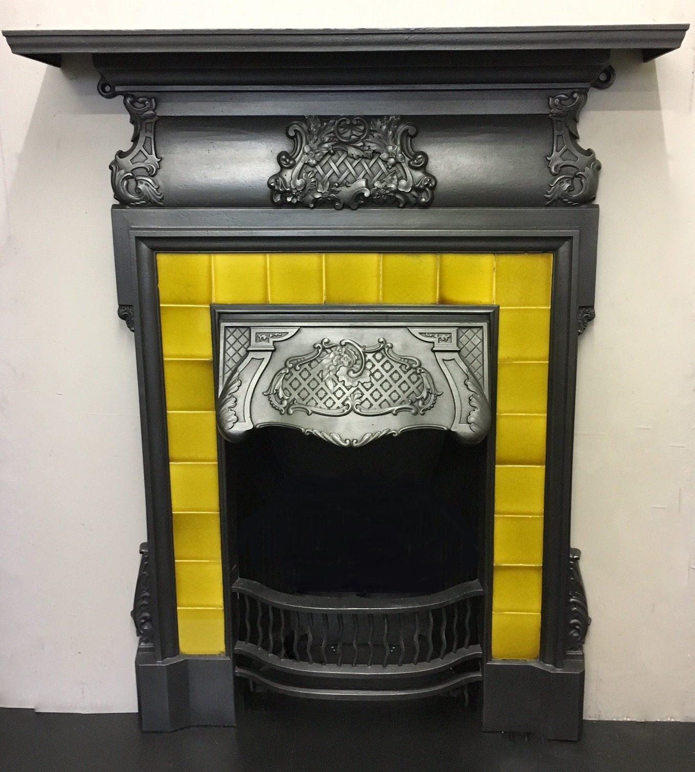 original victorian rococo style tiled cast iron combination