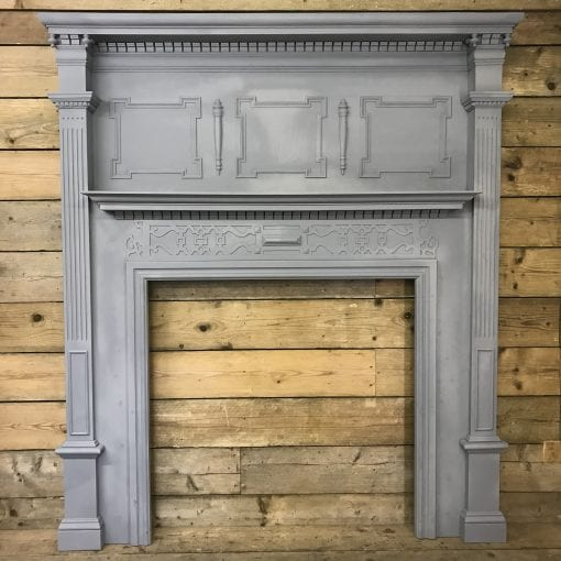 Grand Antique Painted Wood Surround